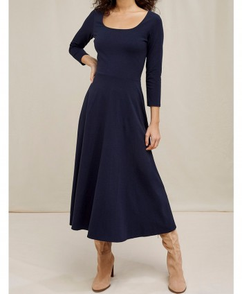 Valencia Flared Dress In Navy
